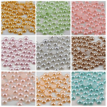 QIAO 6mm/8mm/10mm Half Round FlatBack Acrylic Imitation Pearl Beads For DIY Designs Garment Accessories(China)
