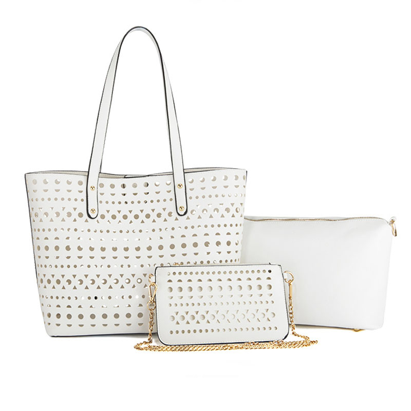 2017 Fashion Hollow Tote For Women 3 Set Bags Female Shoulder Clutch Purse White Leather Messenger Beach Bags<br><br>Aliexpress