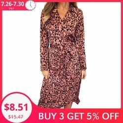 Женское длинное леопардовое платье с длинным рукавом
