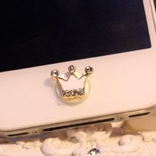 Home Button Sticker White crown with bling rhinestone for iPhone for iPod Luxury girls Mobile Phone Stickers(China)