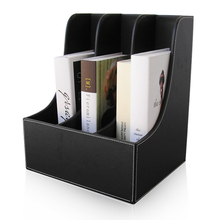 3-Slot Desktop Book Magazine File Rack Box Organizer Stand Case File Shelf Wood Structure PU Leather Brown