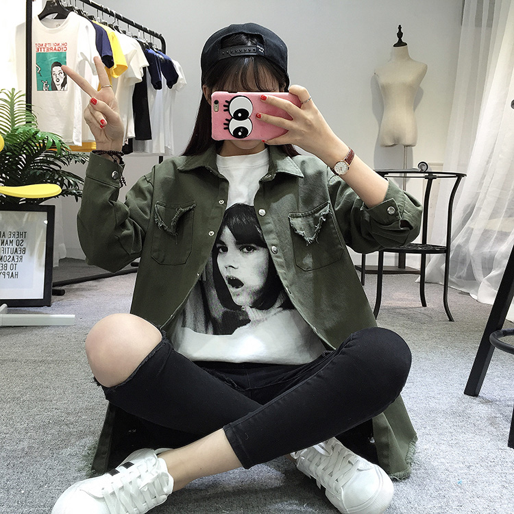 2018 Spring Autumn New Long Section Lapel Tassel Denim Jackets Women Loose Casual Long Sleeve Female\'S Thin Basic Jacket Coats (22)