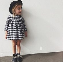 DQ0222 Bebe dress children's clothes girls long sleeve plaid dresses Kids 2017 new winter classic black and white plaid dress