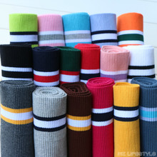 buulqo 80cm Cotton yarn dyed stripes stretch cuff DIY cotton knitted fabric for neckline hem, winter jacket,Clothing accessories(China)