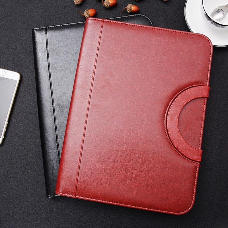 A4 Portfilio Business Manager Document Bag Zipper Leather File Folder Organizer Brief Case with Handle Zipper<br>