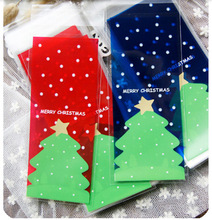 50pcs/lot Christmas cookies bags transparent red blue christmas tree self-adhesive bags diy gift packaging bag