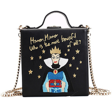 2017 new woman design handbag snow white princess embroidery chain handbag mini lock small square bag girl shoulder bag handbag