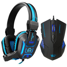 Pro Gaming Mouse and Gaming Headset 3.5mm Gaming Headphones Earphone Games Head phone with Mic LED Light for PC Laptop Gamers