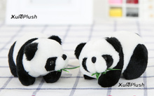 Super Cute NEW - 10CM Panda With Bamboo Plush Stuffed Toys - key chain ring Pendant Plush Toys , Baby Kid's Panda Plush Toy(China)