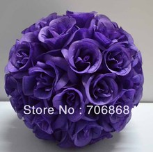 Dark Purple Color Artificial silk kissing rose flower ball 30cm outer diameter 10pcs/lot wedding Church decoration
