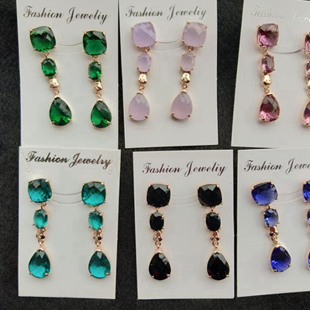 6 Pairs Stone Earrings for Women Vintage Drop Earrings Fashion Indian Jewelry Brincos 2019 Luxury Pendientes Mujer Wholesale