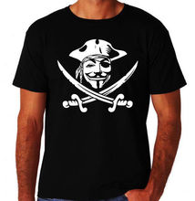 Pirate Jolly Rodger Anonymous Computer Hacker Activist New Mens Black T-Shirt New Men'S Fashion Short-Sleeve T Shirt Mens(China)