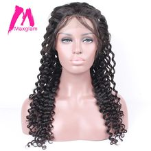 Maxglam Lace Front Human Hair Wigs For Black Women Pre Plucked with Baby Hair Brazilian Deep Wave Remy Hair Wig Free Shipping(China)