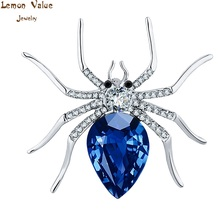 Lemon Value Fashion Charms Rhinestone Spider Brooch Vintage Punk Blue Crystal Glass Brooch Pins Women Wedding Jewelry Gift TP021(China)