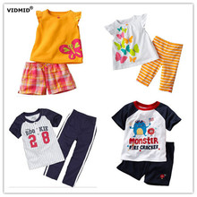 New Arrival 1pcs Girls short sleeve clothing set Summer t-shirt + pants Boy's suits Children's Clothes Trousers Tops Kids Cotton