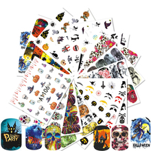 48pcs Halloween Designs Nail Art Cool Decor Sticker DIY Ghost Pumpkin Castle Skull Slide Manicure Sets Water Decals CHA1081-1128