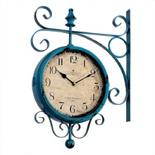 Watch Vintage Saat Double Sided Wall Clock Wrought Iron wall clock Duvar Saati Clocks Reloj Pared Relogio Parede Horloge Murale
