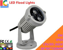 3W LED Floodlights Outdoor IP65 High Power Spotlight 12V 110V 220V advertising lights shine tree lights lawn lamp 4PCs/Lot(China)
