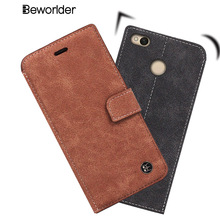 Beworlder For Xiaomi Redmi 4X Genuine Leather Case High Quality Phone Bags Vintage Wallet For For Xiaomi Redmi 4X(China)