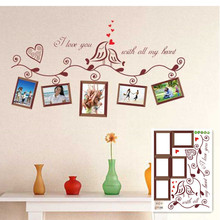 Cartoon Lover Birds Wall Sticker Decor Mural Home Decal Removable Photo Frame Living Room Wall Decor AY640(China)