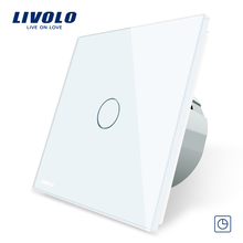 Livolo EU Standard Timer Switch, (30s delay),  3 Color Crystal Glass Panel, Light Touch Switch+LED Indicator,C701T-1/2/3/5
