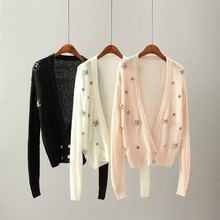 deep V collar manual nail bead cardigan four button knit sweater