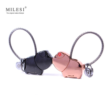 MILESI 2017 cute kiss Pig couple keychain for lover christmas gift women key holder chain keyring fashion souvenir pendant k0176(China)
