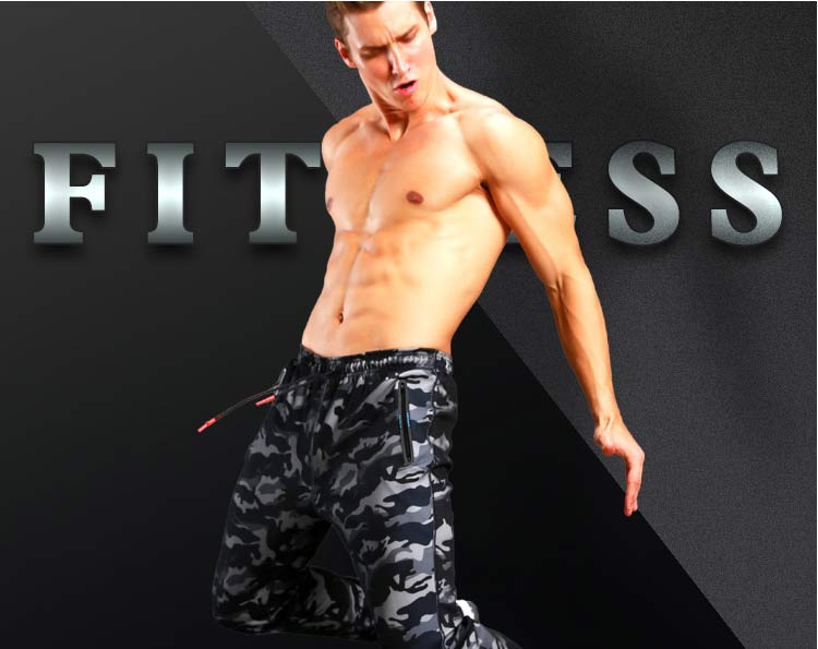 Men Camouflage Jogging Gym Running Training Fitness Pants Active Wear