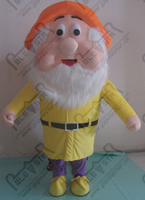export high quality orange hat yellow clothes dwarfs costumes the seven dwarfs mascot costume(China)