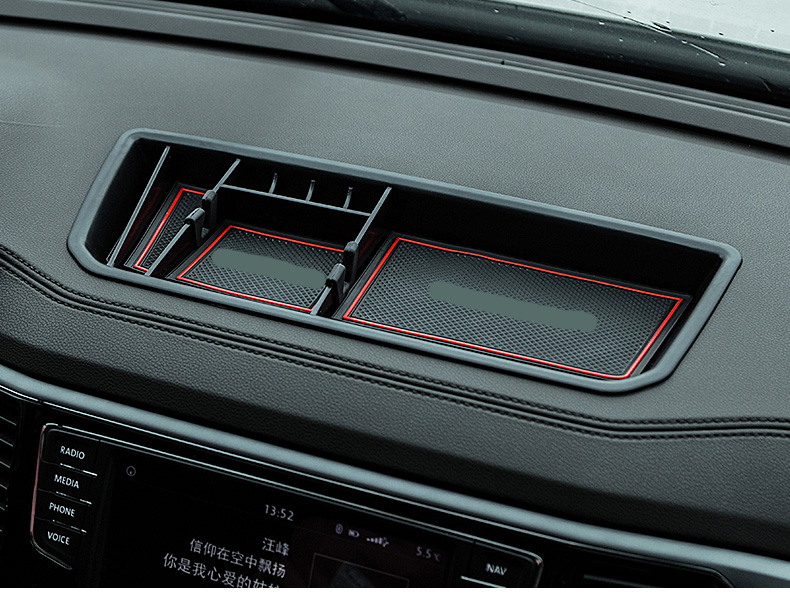 Black ABS Door Storage Box Organizer Holde Tirm For VW Teramont Atlas 2017-2018