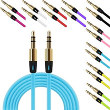 Factory Price 6 Colors 3.5mm Auxiliary Cable Audio Cable Male To Male Flat Aux Cable Free Shipping NOJ02
