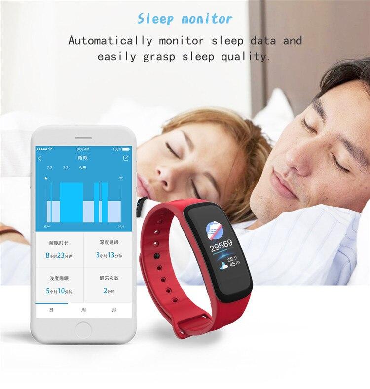 Original C1Plus Smart Bracelet Color Screen Blood Pressure Waterproof Fitness Tracker Heart Rate Monitor pk fitbits miband 3 9
