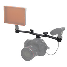 New Dual Mount Bracket Arm with 2 Cold Shoe Solid Steel for CN-160 CN-126 CN-216 for Camera Video Lights Speedlite Microphone