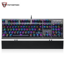 Motospeed CK108 USB Professional Wired Gaming Mechanical Russian Keyboard Qwerty 18 Colors Backlights For Gamer Desktop Laptop