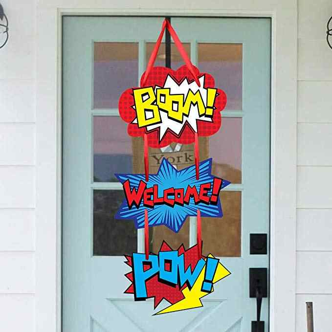 Superhero Themed Door Sign Boom Pow  Room Hanging Welcome Hanger for Kid Birthday Party Decorations Favor