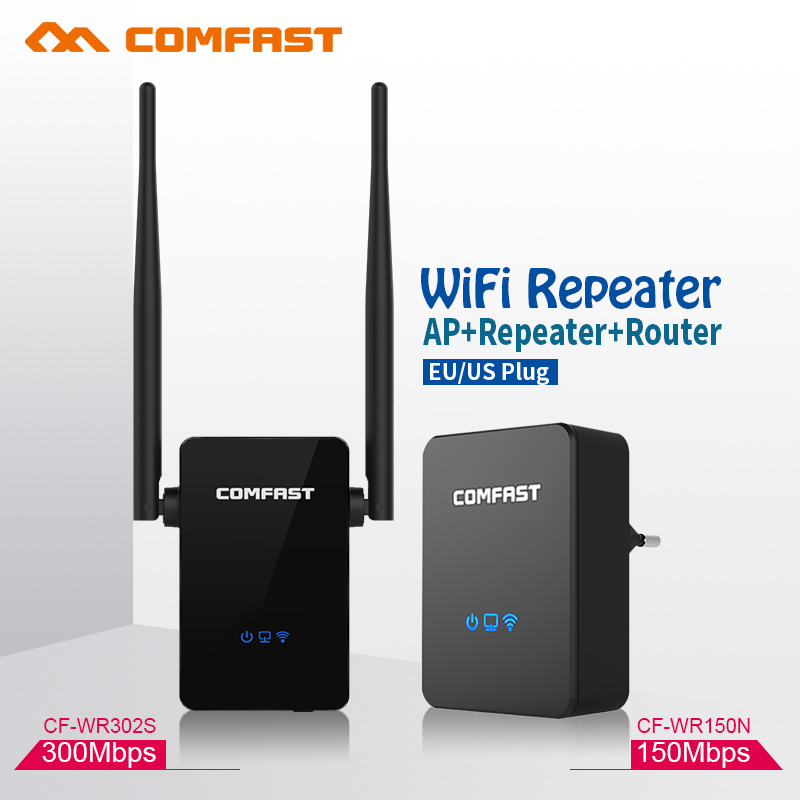 COMFAST 150~300Mbps Wireless Repeater WIFI Router 2.4GHz Access Point Signal Extender Wireless N Wi-fi Amplifier EU US homeplug(China (Mainland))