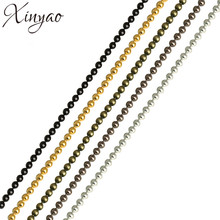 XINYAO 10m/lot 1.2 1.5 2 mm Gold/Black Color Metal Ball Bead Chains Bulk for Diy Bracelet Necklace Jewelry Findings Making F680(China)