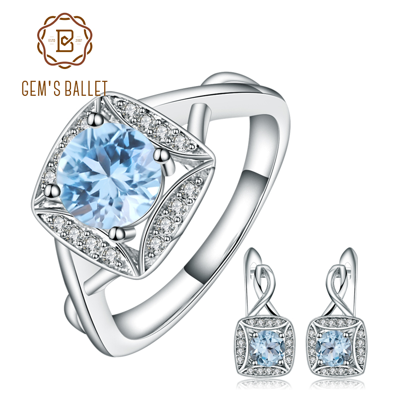 GEM'S BALLET 1.6ct Natural Sky Blue Topaz Rings Clip Earrings 925 Sterling Silver Gemstone Fine Jewelry Set For Women Gift