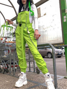 NCLAGEN Casual Pants Overalls Trousers Suspenders Buckles Chains Capris Pockets Streetwear