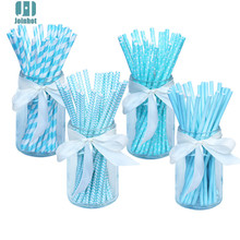 100pcs/lot  sky blue  Paper Drinking Straws Drinking Tubes Party Supplies Decoration Baby shower