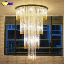 FUMAT K9 Crystal Chandeliers Modern LED Luxury Hotel Lobby Chandelier Ceiling Lustre Cake Version K9 Crystal Light Fixtures(China)