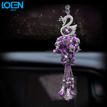 1PCS Fashion Car Hanging Swan Ornaments Car Hanging Pendant Decorations Rearview Mirror Crystal Car Styling Interior Accessories(China)