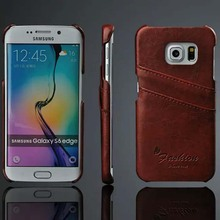 Note5 Luxury Oil wax pattern PU Leather Card Slots Phone Skin Hard Back Cover case For Samsung Galaxy S6 Edge G9250 /S6 G9200