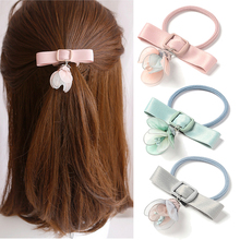 Sweet Female Flower Hair Accessories Elegant Women Hair Bands Ribbon Bow Knot Rubber Band Elastic Hair Tie Girls Headband Gums(China)