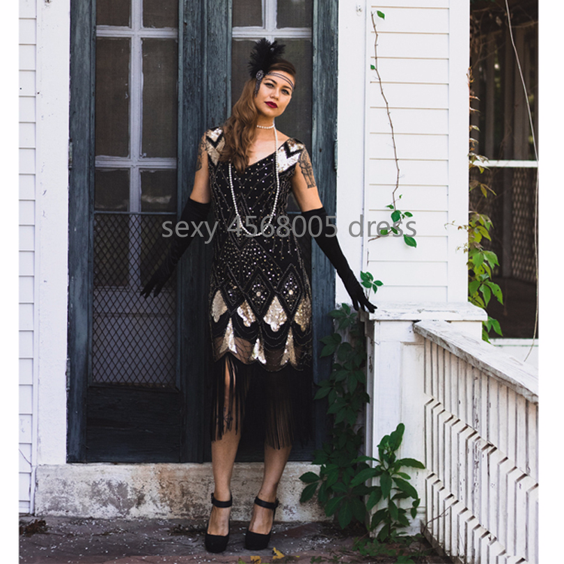 Vintage Women Plus Size Great Gatsby Dress Sleeveless V Neck 1920s Flapper  Dress Cocktail Party Fringed 7ed29b9f3c65