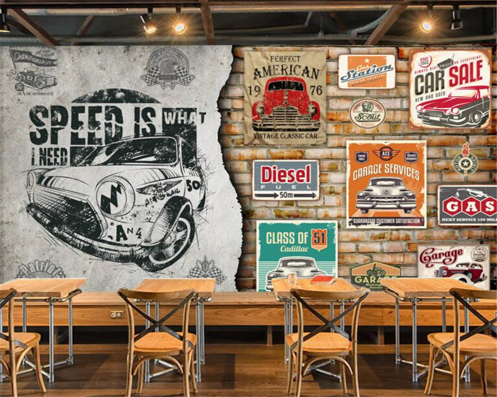 papel de parede European broken brick wall car classic car tooling background murals 3d wallpaper living room bedroom murals<br><br>Aliexpress