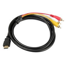 1.5M/5ft 1080P HDMI Male to 3 RCA Audio Video AV Cable Cord Adapter Converter Connector Component Cable