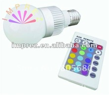 Hot sale AC85-265 3w E14/E27/B22 RGB led bulb light /led golf ball bulb with remote controller(China)
