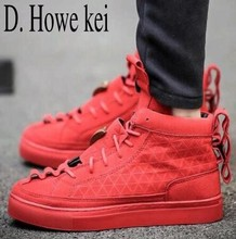 D. Howe kei Hot Sale Patrick Mohr Flat Triangle Shoes High And Low Men Leather Nubuck Trend Red Black Nubuck man Casual Shoes(China)