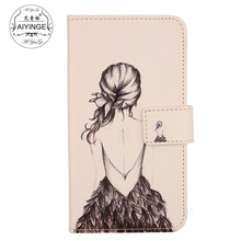 "AIYINGE Soft skin PU Leather Cell phone cover protective Cartoon printed bag Flip wallet case For Polaroid Topaz 4,5""(China)"